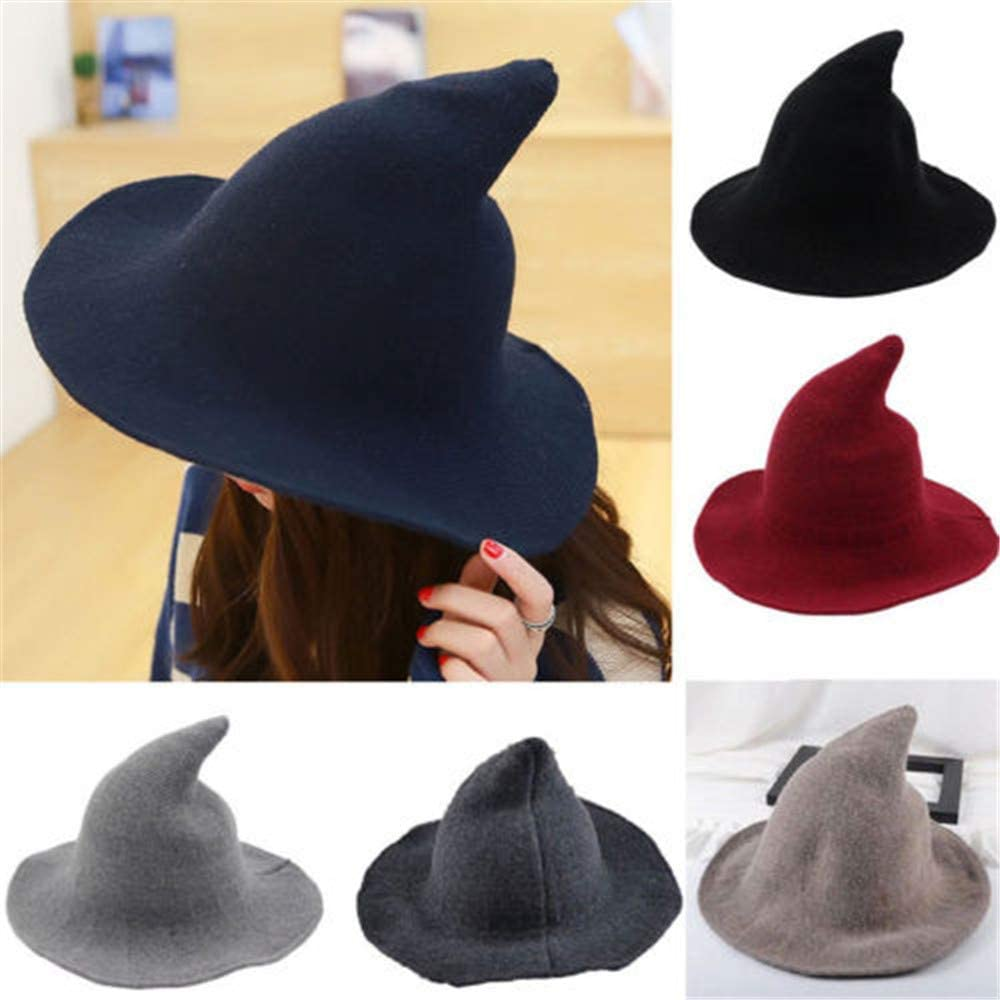 Halloween Women Witch Hat Kinitted-Wool Wide Brim Foldable Pointed Cap Headwear Party Accessory Fancy Costume