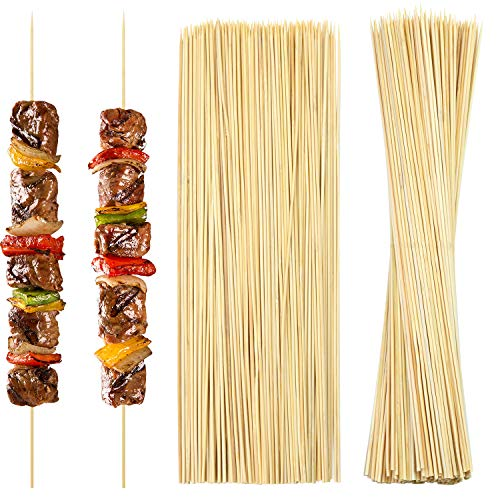 Aneco 200 Pieces 40cm Natural Bamboo Skewers Extra Long Bamboo Sticks for Barbecue Kebab,Cocktail, Chocolate Fountain, and Fruit