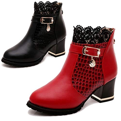 (Autumn Winter Leather Sexy Ankle Hot Arrival Sale Women's Shoes Hot Boots Diamond Buckle Thick Heels Martin Shoes(Black,38))