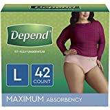 Depend FIT-FLEX Incontinence Underwear for Women, Disposable, Maximum Absorbency, L, Blush, 42 Count