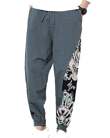 Flairstar Pantalon Sarouel pour Homme Splice Pantalon Et Large Pantalon  Hippie Simple Style Pantalon Raccourci Style Chinois Pantalon D\u0027Été pour  Plage