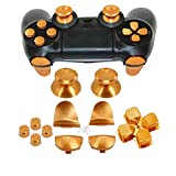 Full Metal Bullet Buttons for PS4 Controller, COCOTOP Aluminium Buttons Thumbsticks Thumb Grip, ABXY Buttons, D-pad, L1 R1 L2 R2 Trigger Buttons for PS4 PS4 Slim PS4 Pro Controller (Gold)