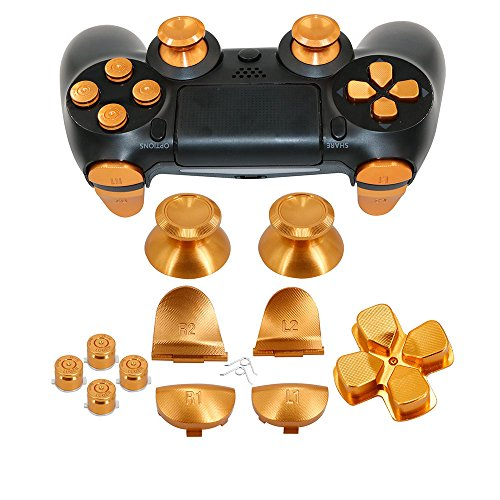 Price comparison product image Full Metal Bullet Buttons for PS4 Controller, COCOTOP Aluminium Buttons Thumbsticks Thumb Grip, ABXY Buttons, D-pad, L1 R1 L2 R2 Trigger Buttons for PS4 PS4 Slim PS4 Pro Controller (Gold)