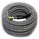 """100 ft 3/8"""" Gray Non-Marking 4000psi Pressure Washer Hose With Quick Couplers"""