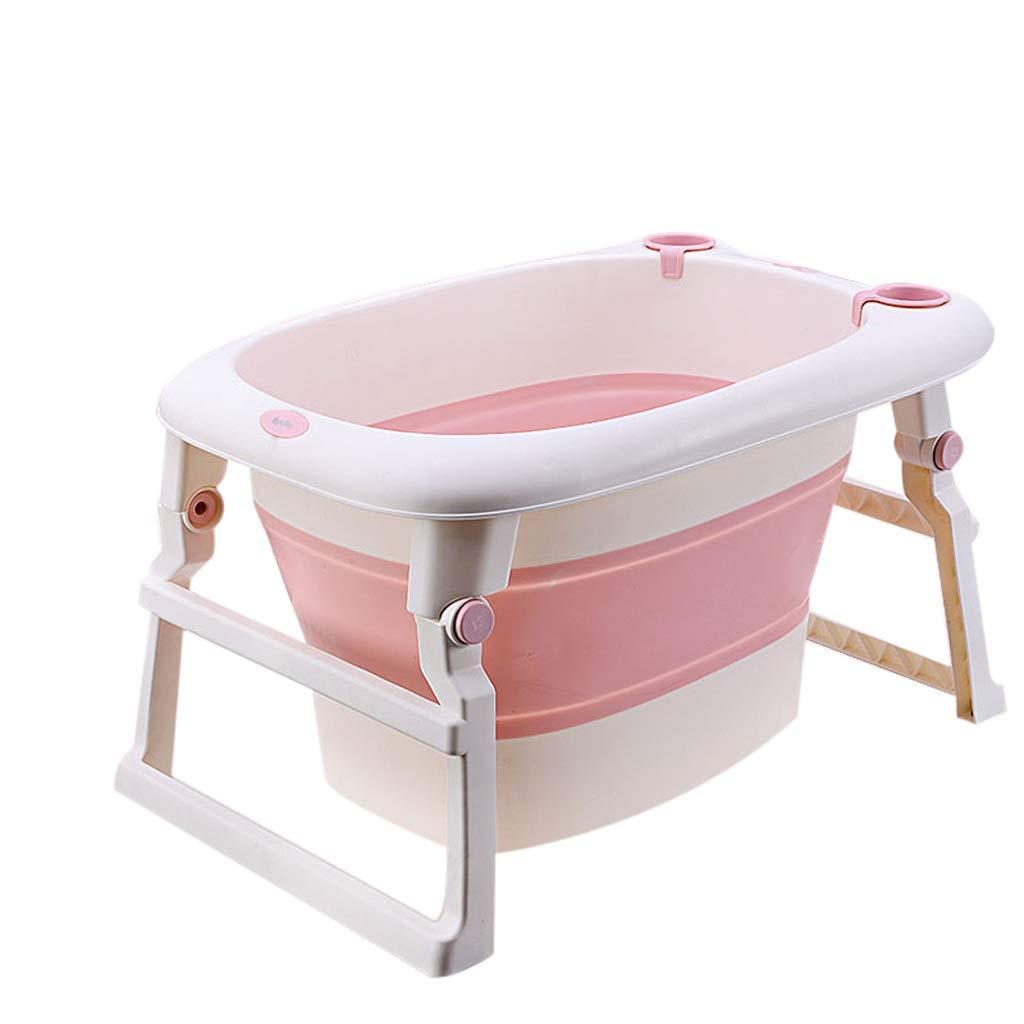 QBYLYG Kids Portable Folding Bathtub Swimming Pool Large Freestanding Corner Bathtub Bath Bucket for Adult (Color : Pink) by QBYLYG