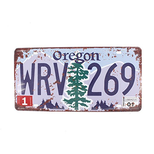 6x12 Inches Vintage Feel Rustic Home,bathroom and Bar Wall Decor Car Vehicle License Plate Souvenir Metal Tin Sign Plaque (OREGON WRV - Wrv Shop