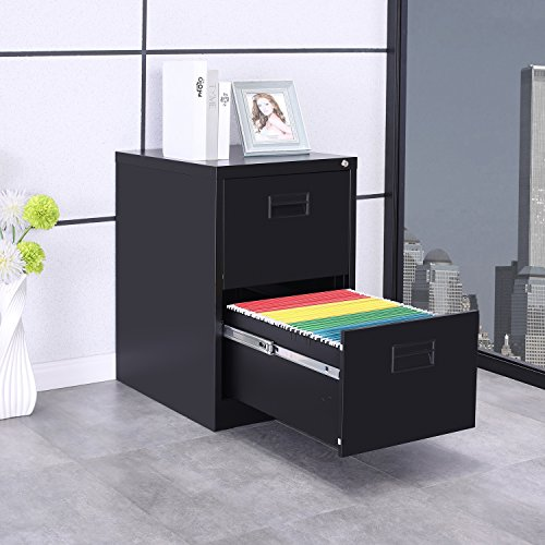 Cheap ModernLuxe Metal Lateral File Cabinet with Keys (Black, 2-Drawers:18W×24.4D×28.4H)