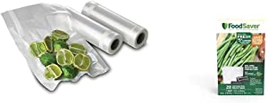FoodSaver FSFSBF0526-P00 8-Inch Roll Two-pack, 20 Feet Long & 1-Pint Precut Vacuum Seal Bags with BPA-Free Multilayer Construction for Food Preservation, 28 Count