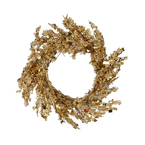 House of Silk Flowers Gold Iced Small Wreath -