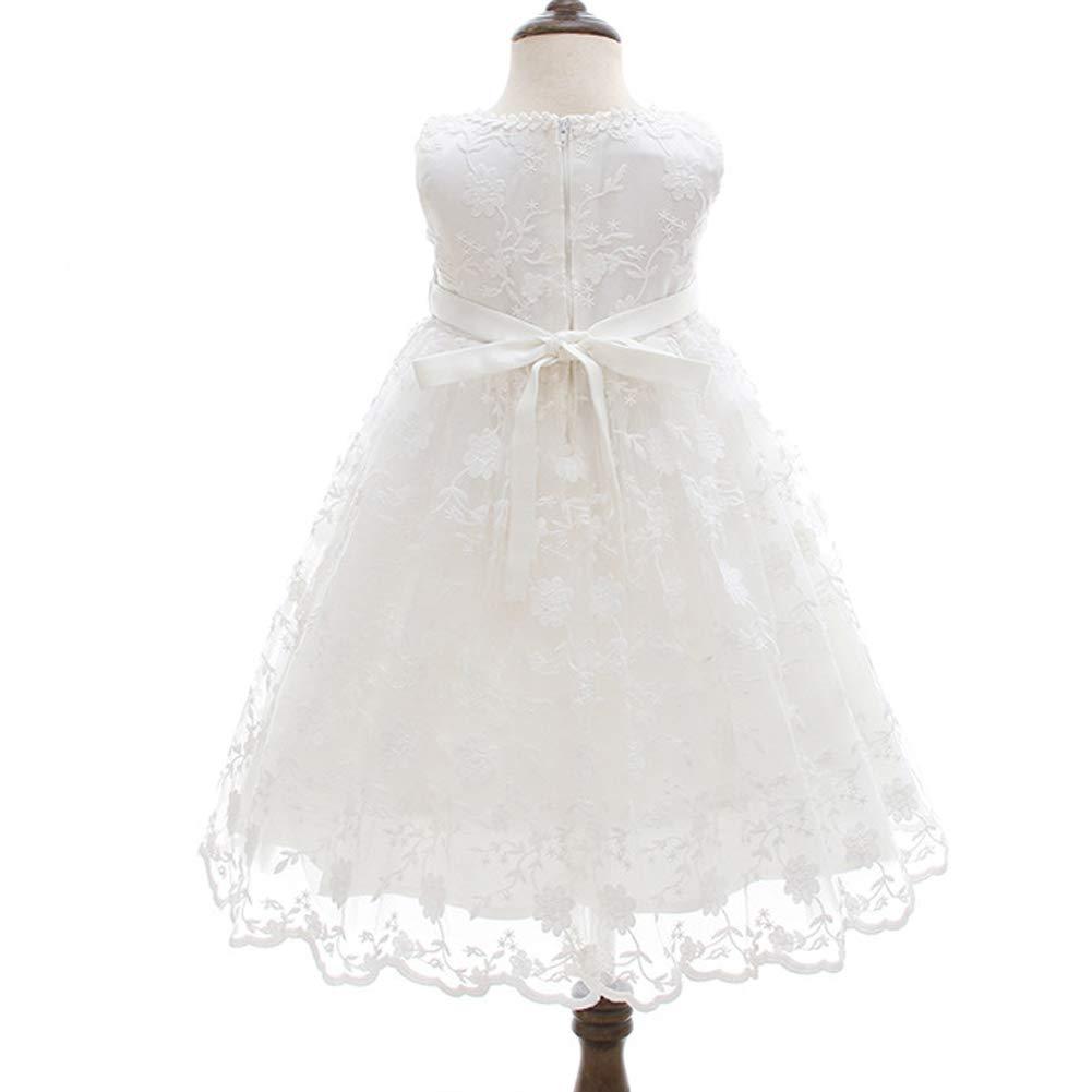 Monimo Baby M/ädchen Taufbekleidung Kleid 2PCS Prinzessin Bow Festkleidkleid L/änge bis zum Boden