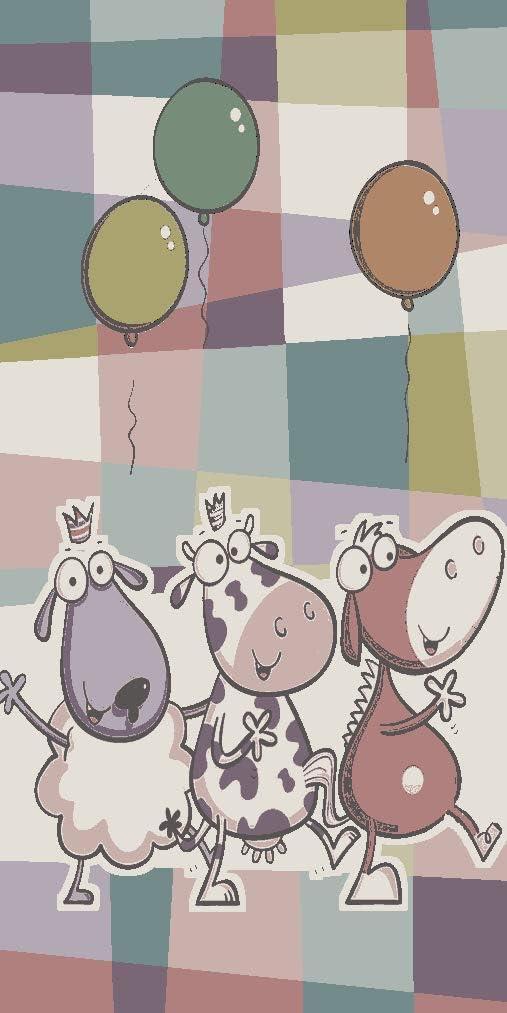 Dimensione:120x170 cm Tappeto per Bambini Stanza Giochi Caos Animali Pallone Giocoso Quadri Colorato
