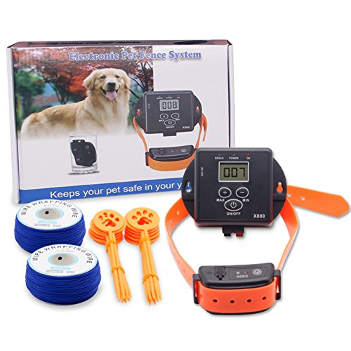 AODAILIHB X-800 Smart Pet Waterproof Electronic Fence Dog Training Pet Supplies, Includes A Waterproof Bark Stop, A Waterproof Collar, A Signal Transmitter, Two Coils,And 20 Fixed Piles