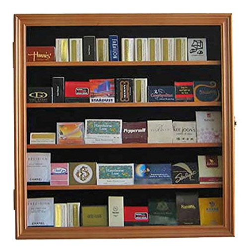 Oak Large Zippo Cigarette Lighter/Matchbook Display Case Wall Cabinet