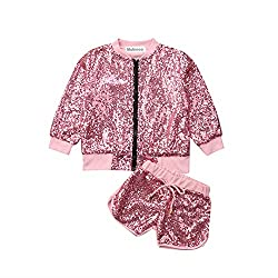 Baby Girls Sequin Zipper Tops Shorts