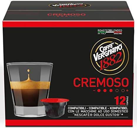 Caffè Vergnano 1882 Capsule Caffè Compatibili Nescafé Dolce Gusto, Cremoso – 6 confezioni da 12 capsule (totale 72)
