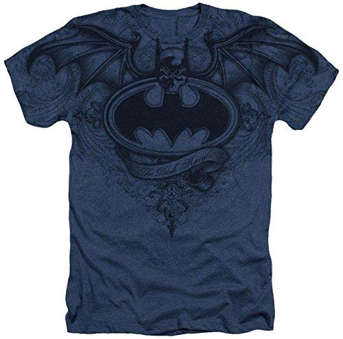 Batman Dark Knight Winged Logo DC Comics Sublimated Adult Heather T-Shirt Tee Navy ()