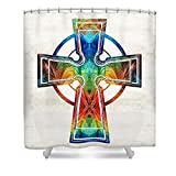 Pixels Shower Curtain (74'' x 71'') ''Colorful Celtic Cross By Sharon Cummings''