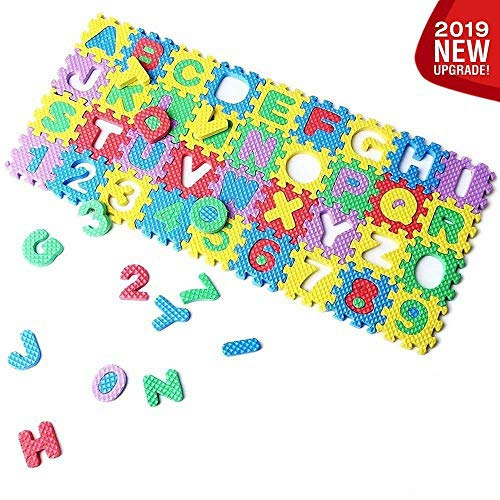 ([2019 New] Eutuxia Alphabet Letters & Numbers Mini Puzzle for Building Blocks & Floor Play Mat. Fun & Colorful Educational Learning Toy for Toddlers, Babies & Kids. Safe Non-Toxic EVA Foam. [36 Pcs])