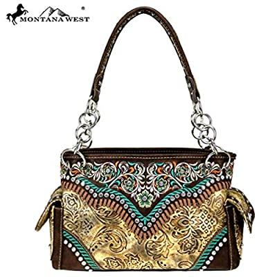 Montana West Satchel Purse Embroidered Collection Embossed Vintage Pattern MW726-8085