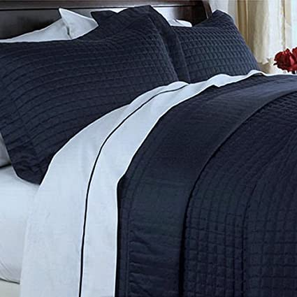 Awesome Modern Reversible Lightweight Solid Navy Blue Quilt Coverlet Set King/Cal  King