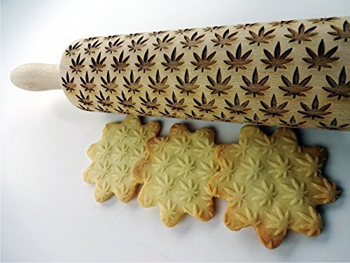 Cannabis Rolling Pin. Pattern with Cannabis leaves for embossed cookies. Embossing rolling pin