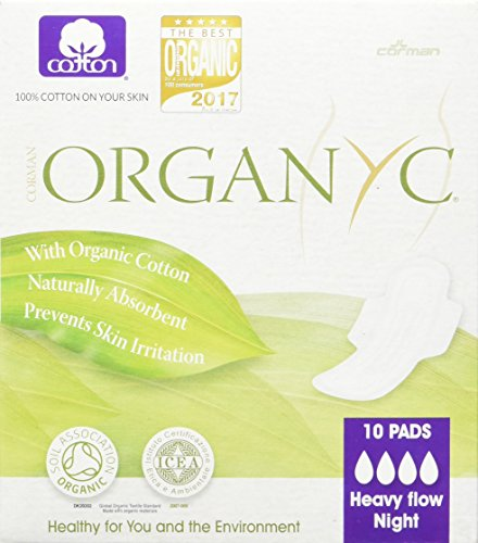 Organyc 100% Organic Cotton Pads with Wings for Sensitive Skin, HEAVY, 10 count
