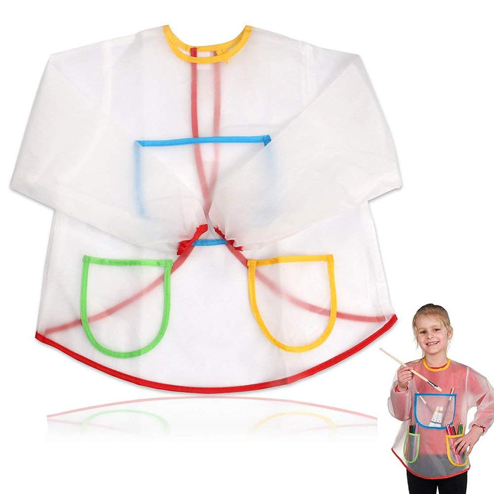 Kids Art Aprons Children Waterproof Aprons Artist Aprons with Long Sleeve,Long Section Apron for Toddler 3-8 Years (Paints and Brushes not Included)-Transparent Willsm