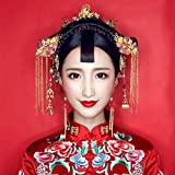 Red bridal headdress frontlet flow comb earrings Chinese cheongsam dress costume Xiu clothing hair accessories Headwear for women girl lady