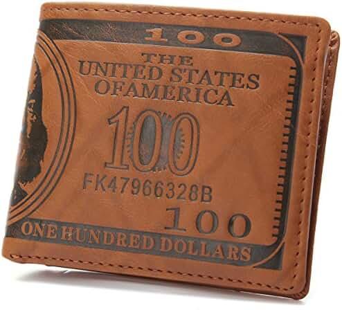 OURBAG Mens US $100 Dollar Bill Leather Bifold Card Holder Wallet Handbag Purse Dark