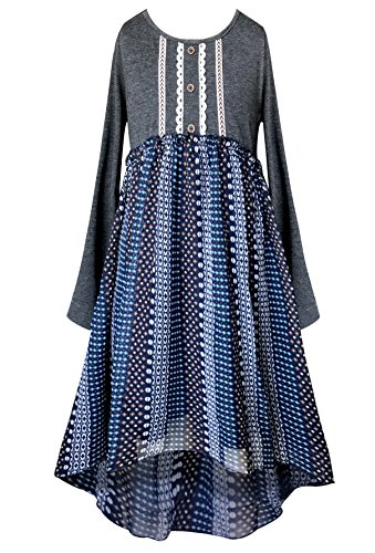 Smukke Big Girls Tween Soft Knit and Chiffon Long Sleeves HI Low Dresses (Knee Length) (Many Options), 7-16 (Grey Multi, 12)