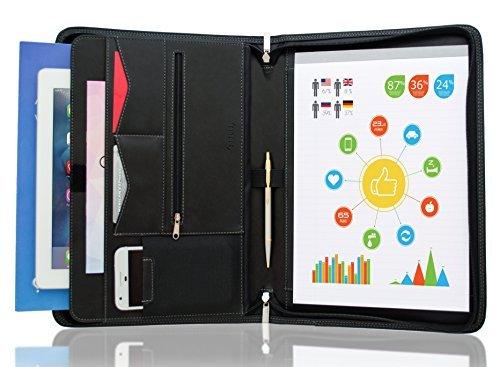 stylio portadocumentos con cierre/resume portafolios Carpeta con ranura para iPad/10-inch tablet Slot–Entrevista/Legal...