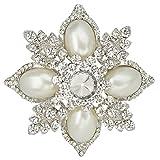 EVER FAITH Women's Austrian Crystal Simulated Pearl Flower Pendant Brooch Clear Silver-Tone