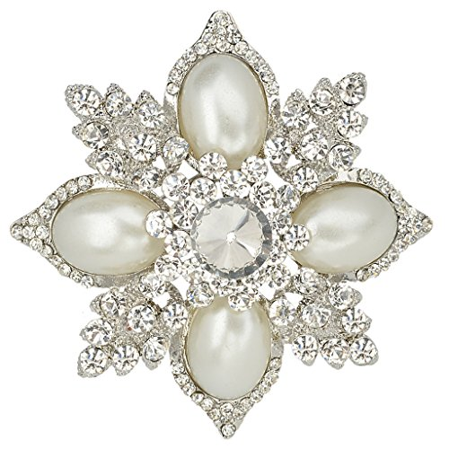 Flower Pin Pendant (EVER FAITH Women's Austrian Crystal Simulated Pearl Flower Pendant Brooch Clear Silver-Tone)