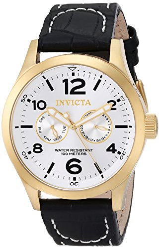 Invicta Men's 12172 Specialty Military Silver Dial Black Leather Watch (Watches Invicta Military)