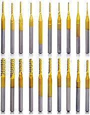 "Acelane 10Pcs CNC Router Bits End Mill Rotary Burrs Engraving Machine Drilling Hole Tool for PCB Mould Plastic Fiber Carbon Fiber Hard Wood, 0.8-3mm, 1/8"" Shank"