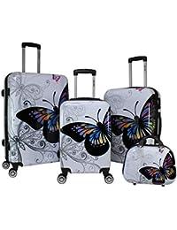 4-Piece Hardside Upright Spinner Luggage Set, Butterfly