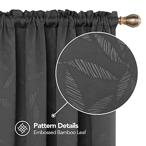 Deconovo Decorative Bamboo Leaf Blackout Curtains Rod Pocket Texture Embossed Window Curtains for Kids Room 52W x 54L Inch Dark Grey 2 Panels