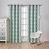 Exclusive Home Curtains Durango Printed Geometric Sateen Woven Room Darkening Grommet Top Window Curtain Panel Pair, Sea Foam, 52x96