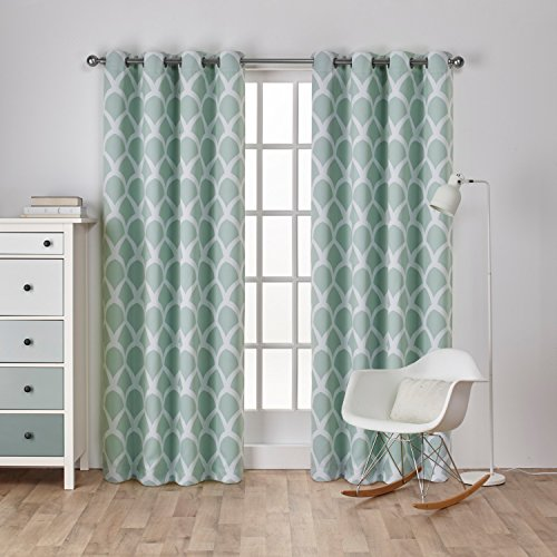 Exclusive Home Curtains Durango Printed Geometric Sateen Woven Room Darkening Grommet Top Window Curtain Panel Pair, Sea Foam, 52x96 Geometric Curtain