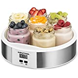 Gourmia GYM1620 Digital Yogurt Maker With 7 Glass Jars Customize To Your Flavor And Thickness, Free Recipe Book Included