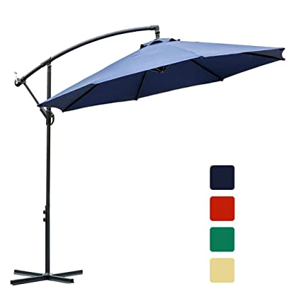 farland 10 ft offset cantilever patio umbrella outdoor market hanging umbrellas crank with cross base - Amazon Patio Umbrella