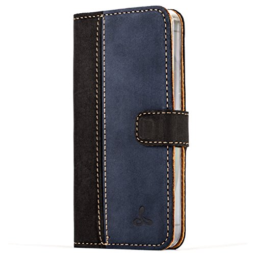 iPhone 5 / 5s / SE Case, Snakehive Vintage Collection Apple iPhone 5 / 5s / SE Wallet Case in Nubuck Leather with Credit Card/Note Slot for Apple iPhone 5 / 5s / SE (Black and Navy)