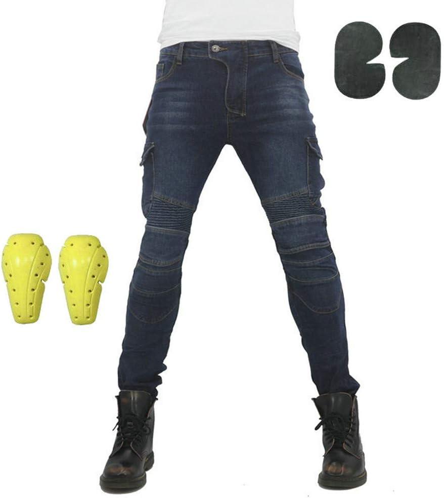 Atack-B Pantalones De Motociclismo Para Hombres, Pantalones De Carreras De Motocross Con 4 Almohadillas Protectoras Desmontables, Pantalones Anti Caída (Azul,XXXL)