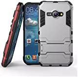 Heartly Samsung Galaxy J1 Ace SM-J110 Back Cover Graphic Kickstand Hard Dual Rugged Armor Hybrid Bumper Case - Metal Grey