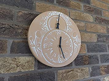 GARDEN CLOCK AND THERMOMETER HANGING TERRACOTTA 12u0026quot; ...