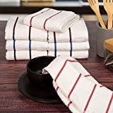 Lavish Home 100% Combed Cotton Dish Cloths Pack – Absorbent Chevron Weave Kitchen Dishtowels, Cleaning Drying (8 Pack, Multiple Colors)