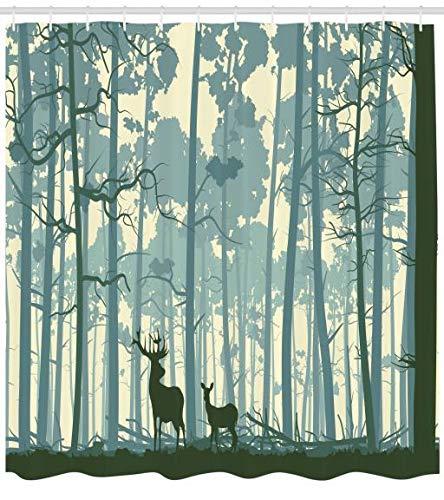 ABAKUHAUS Cerf Rideau de Douche, Silhouette animalière dans la forêt brumeuse, Facile à Nettoyer Tissu, 175 X 200 cm, Blanc Silhouette animalière dans la forêt brumeuse Facile à Nettoyer Tissu