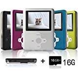 Lecmal Portable MP3/MP4 Player with 16GB Micro SD Card, Economic Multifunctional Music Player with Mini USB Port, Media Player, MP3 Voice Recorder, Best Gift for Kids-Black