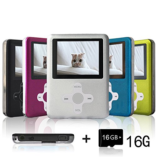 Lecmal Portable Mp3 Player Mp4 Player with 16Gb Micro Sd Card and Fm Radio Function, Economic Multifunctional Music Player with Mini USB Port-Silver20