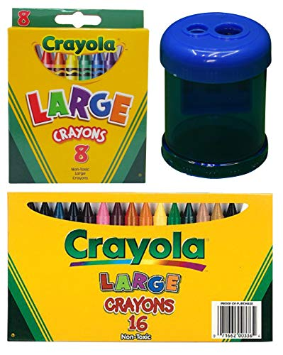 Crayola Large Crayons, 8 Count and 16 Count (Big Variety of Colors)   Crayon and Pencil ()